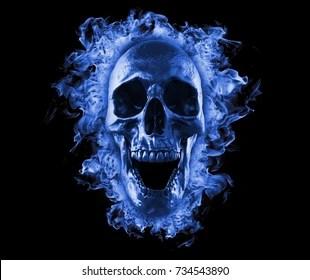 blue flame skull images