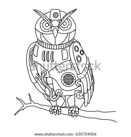 Steampunk Style Owl Mechanical Animal Coloring Stock
