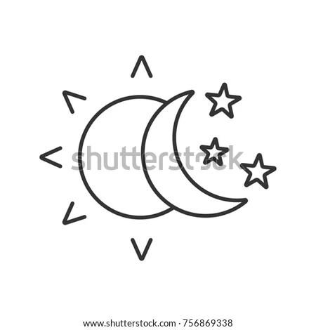 Sun Moon Stars Linear Icon Thin Stock Illustration