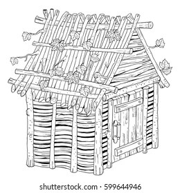 house made out of straw Stock Illustrations, Images