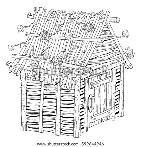 Three Little Pigs Fairy Tale House Stock Illustration
