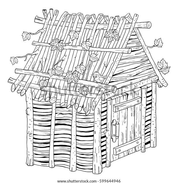 Three Little Pigs Fairy Tale House Stock Illustration