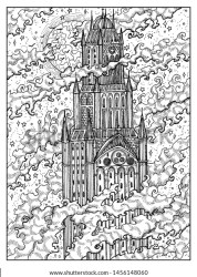 Tower Castle Black White Mystic Concept Stock Illustration 1456148060