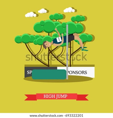 track and field diagram vw bora fuse box athletics concept illustration sportsman stock jumping over bar at stadium competition