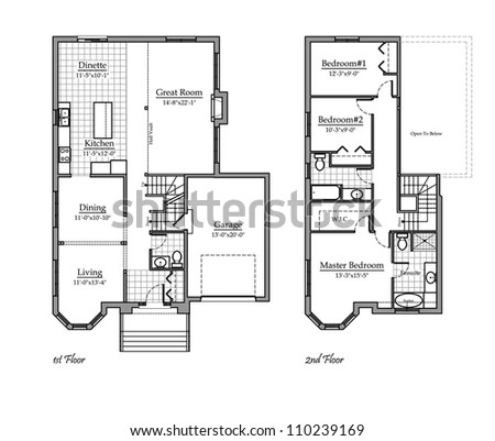 Two Storey Floor Plan Room Names Stock Illustration