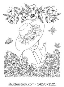 Girl Flowers Antistress Coloring Page Images, Stock Photos