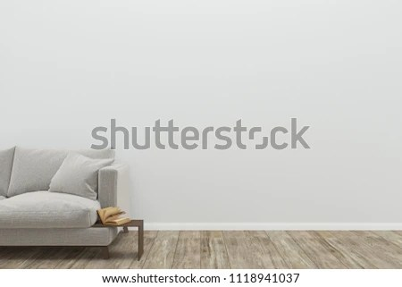 sofa gray color knoll florence royalty free stock illustration of wall wood floor tree vase copy space pillow cushion living room interior 3d