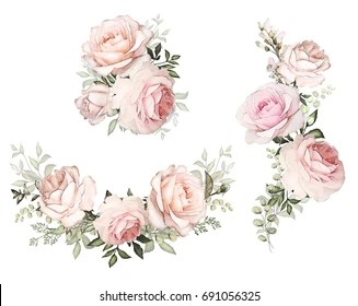 Watercolor Flowers Floral Illustration In Pastel Colors Bouquet Of Flowers Pink Rose Leaf