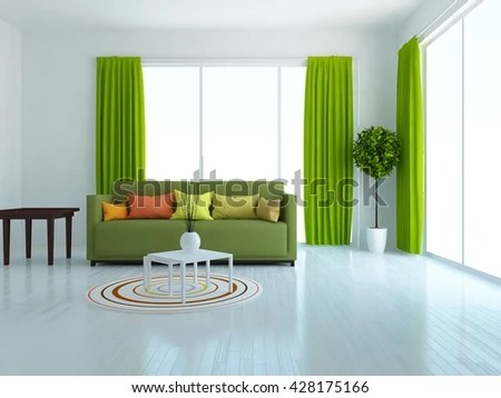 green curtains for living room sofas ideas white sofa stock illustration royalty with and interior scandinavian