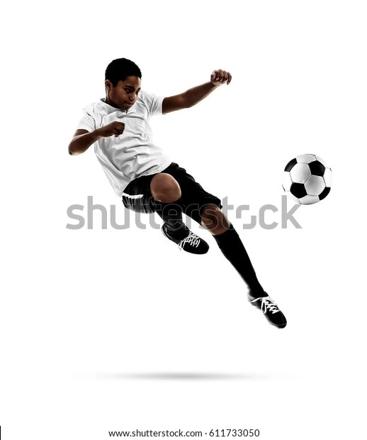Africanamerican Youth Football Player On White Stock Photo