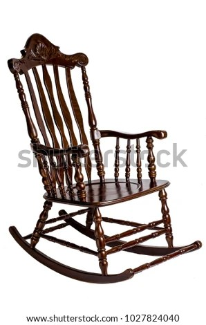 antique wooden rocking chairs chair cushion for bed sores isolated white stock photo edit now background