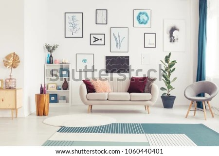 sofa art gallery bed hacks living room interior white stock photo edit now in a with plant and grey armchair