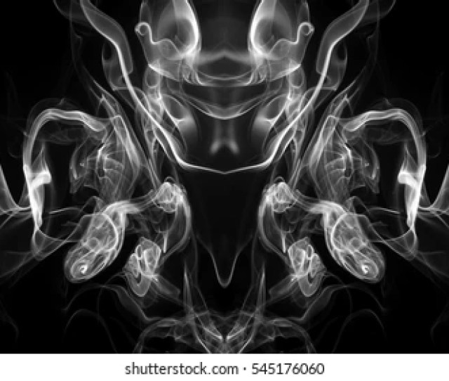 Art Of White Smoke Abstract On Black Background And Darkness Concept