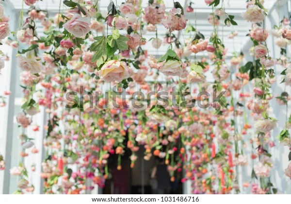 artificial flowers hanging ceiling