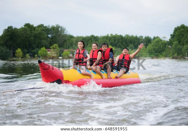 Asian Family Play Banana Boat Tropical Stock Photo Edit Now