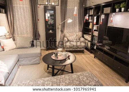 ikea showroom living room black table sets bangkok thailand december 17 2017 stock photo edit now displays furniture for a