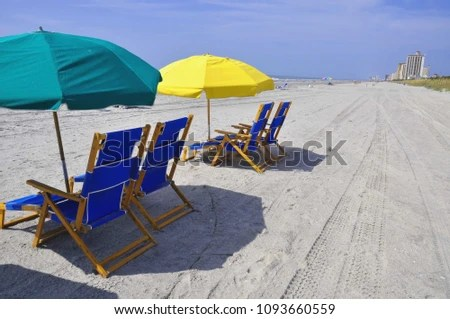 beach chairs with umbrellas chair covers for weddings uk offer welcoming shade stock photo edit now and on a hot summer day at the seashore
