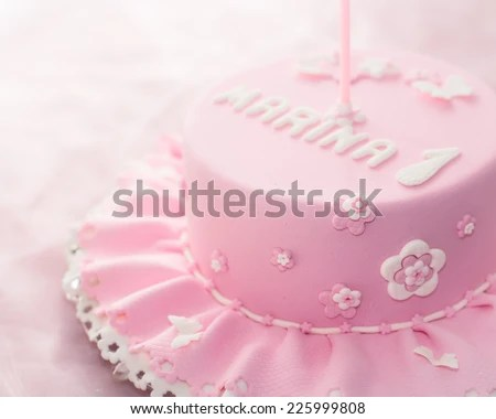 Beautiful Birthday Cake Baby Girl Selective Stock Photo Edit Now