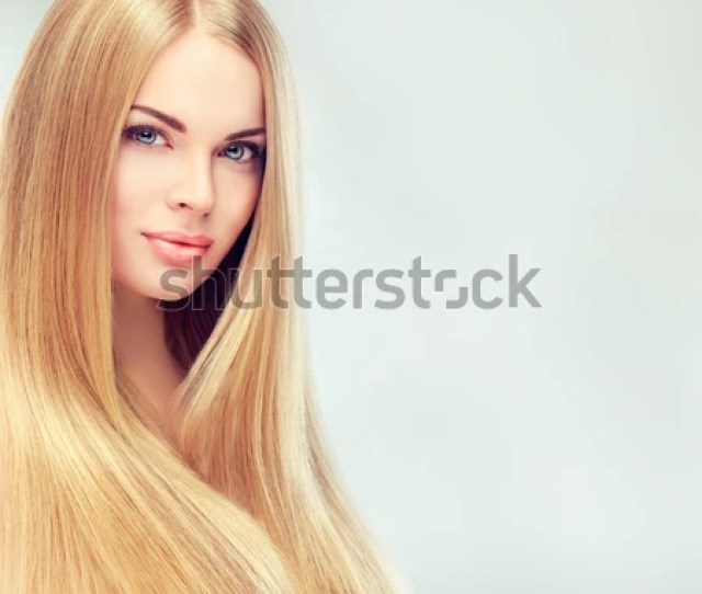 Beautiful Blonde Woman With Long Healthy Straight And Shiny Hair Hairstyle Loose Hair