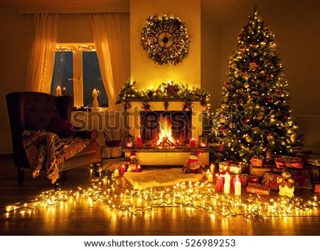 beautiful living rooms at christmas no area rug in small room fireplace tree stock photo edit now with a and