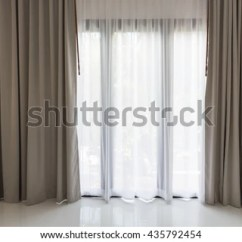White Curtains For Living Room Rooms Sets Under 500 Beautiful Modern Grey Stock Photo Edit Now And In