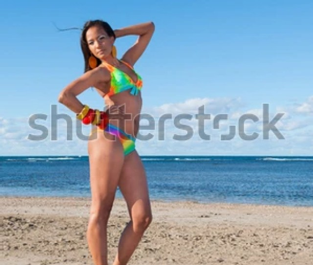 Beautiful And Sexy Girl Posing At The Beach In Dominican Republic Dressing A Bikini