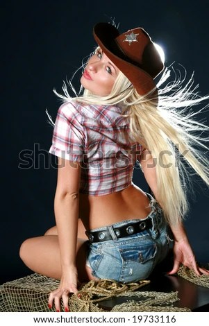 Beautiful Sexy Woman With Cowboy Hat