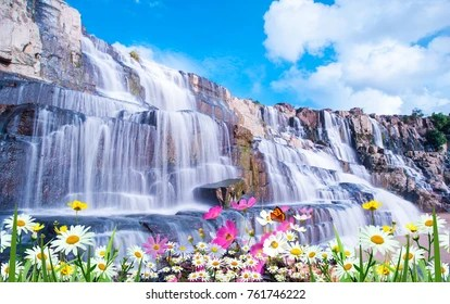 Colorful Fall Scene Wallpaper Waterfall Flowers Images Stock Photos Amp Vectors