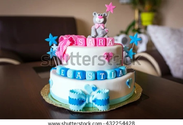 Birthday Cake Baby Boy Girl Twins Stock Photo Edit Now 432254428