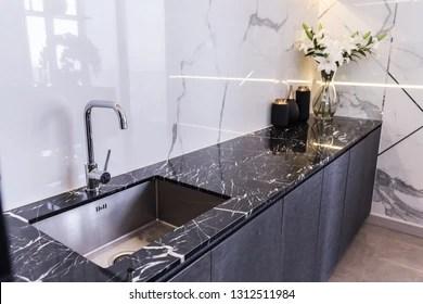 https www shutterstock com image photo black kitchen sink tap water interior 1312511984