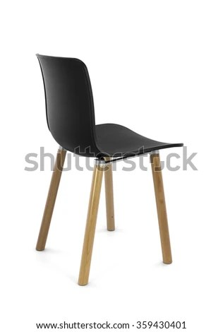 black plastic chair with wooden legs computer back modern wood stock photo edit now three quarter view