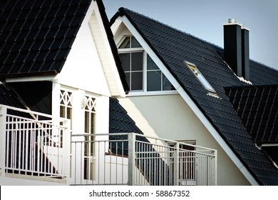 https www shutterstock com image photo black roofs two white houses 58867352