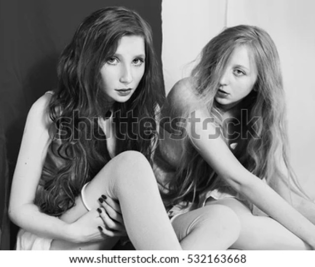 Black And White Art Photography Monochrome Girl And A Blonde Two Lesbian Women