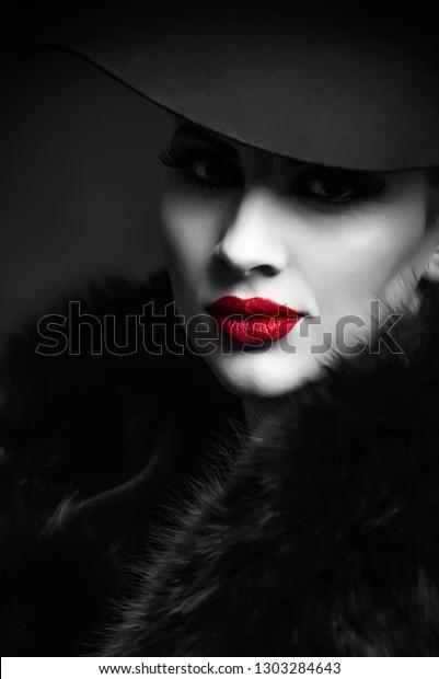 black white portrait girl
