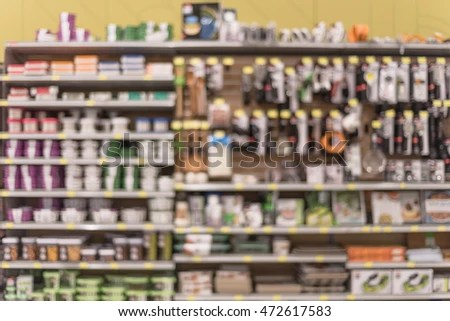 kitchen tools store cabinet costs blurred image utensils on shelf stock photo edit now of display at in houston texas usa