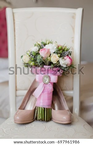 chair accessories for weddings walmart computer chairs brides morning wedding soft colors stock photo edit now in shoes and bouquet on a elegant with light room image