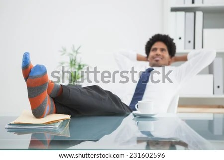 swivel chair feet graco contempo high replacement cover businessman relaxing his stock photo edit now in with up office