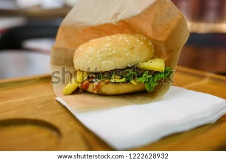 cheeseburger paper wrapping on