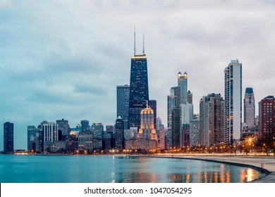 chicago skyline images stock