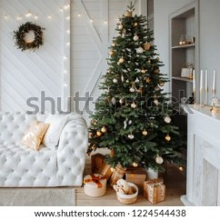 Elegant Christmas Living Room Decor Shabby Chic Furniture Sale Bright Interior Stock Photo Edit Now Of The With Large Tree Toys