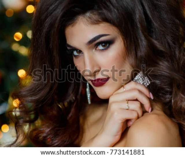 Portrait Of Gorgeous Brunette Model With Beautiful Makeup Healthy Long Hair Elegant