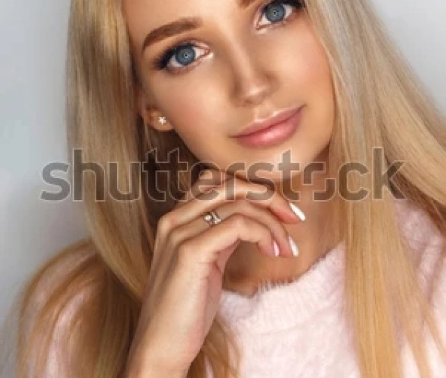Close Up Portrait Of Young Beautiful Blonde Girl With Nude Male Up And Long