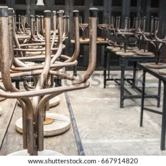 Chair Rail Upside Down Folding Oak Closing Time Restaurant The Stock Photo Edit Now Of