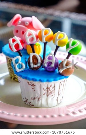Colorful Birthday Bday Cake Cupcake Pig Stock Photo Edit Now