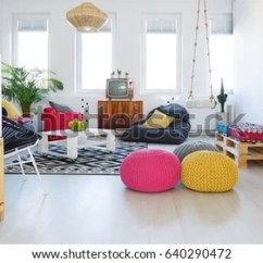 Living Room Pouf Crown Molding Designs Rooms Colorful Retro Tv Stock Photo Edit Now 640290472 With Swing Crate Furniture