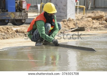 Concrete Work Polishing Surface Concrete Pavement Stock Photo (Edit Now) 376501708 - Shutterstock