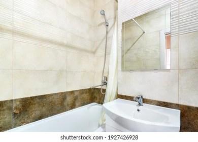 https www shutterstock com image photo corner bathroom shower above bath mirror 1927426928
