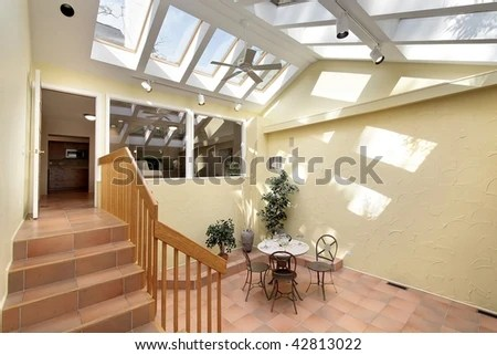 kitchen skylights faucets sale courtyard area outside stock photo edit now with