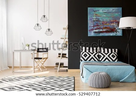 desk in living room apartment wooden furniture singapore cozy creative studio bed stock photo edit now with and computer