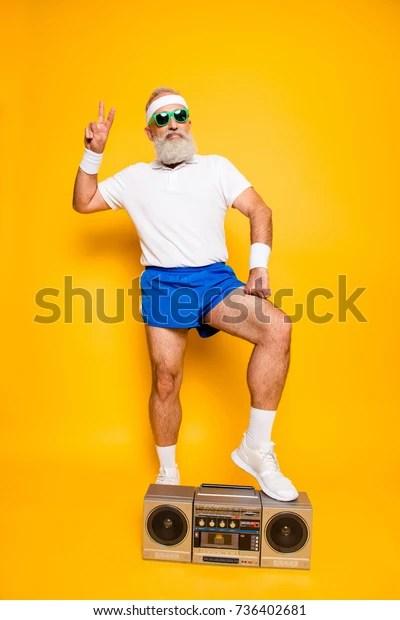 Crazy Grandpa : crazy, grandpa, Crazy, Serious, Athlete, Pensioner, Grandpa, Stock, Photo, (Edit, 736402681